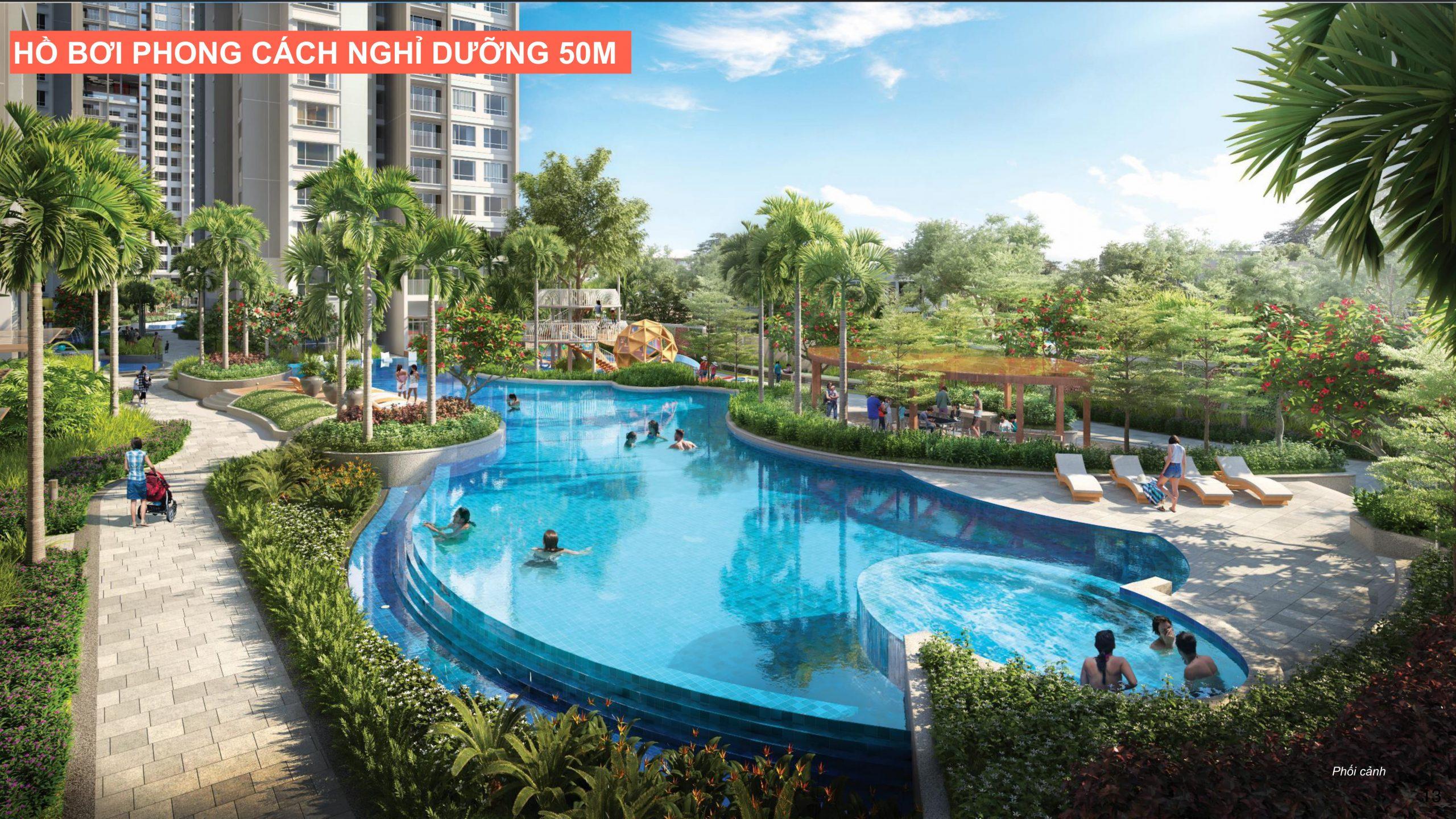 Hồ bơi phong cách nghỉ dưỡng tại căn hộ Celesta Rise Keppel Land.