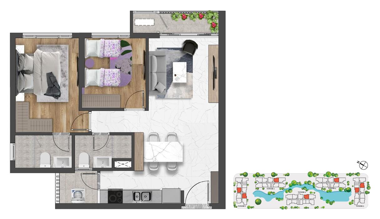 Thiết kế (Layout) căn hộ 2 phòng ngủ 79m2 Celesta Rise