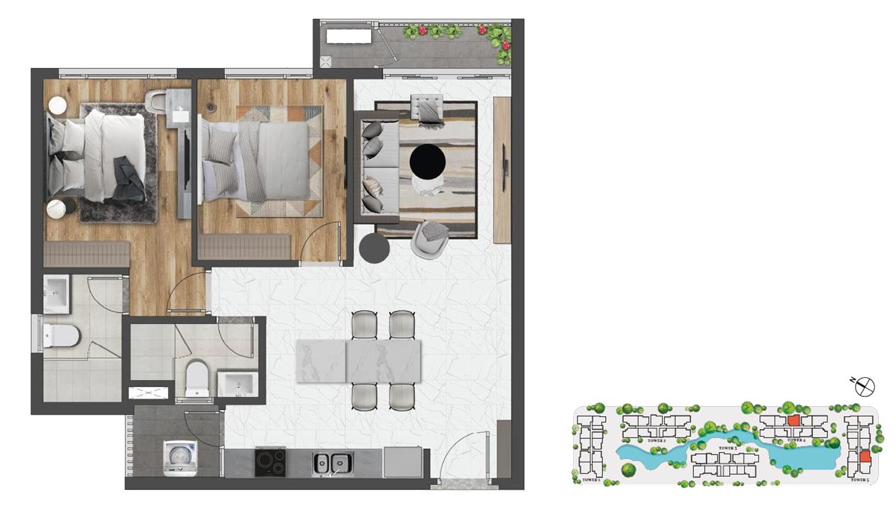 Thiết kế (Layout) căn hộ 2 phòng ngủ lớn 85m2 Celesta Rise