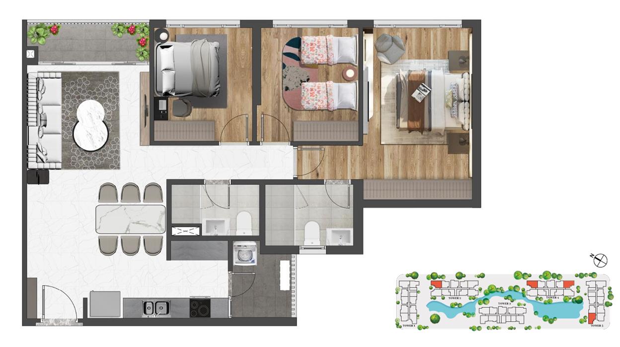 Thiết kế (Layout) căn hộ 3 phòng ngủ Celesta Rise